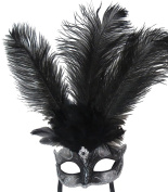 Mask & Co Ladies Quality Black & Silver Feather Venetian Masquerade Party Ball Eye Mask
