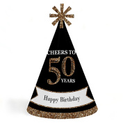 Adult 50th Birthday - Gold - Cone Birthday Party Hats - Set of 8