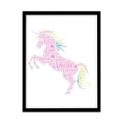 FP1065 Unusual Unicorn Gifts . A4 Print Personalised Word Art
