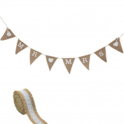 Hessian Mr Mrs Bunting Banner Vintage Burlap with 1 Metre Rustic Ribbon for Bridal Shower Bachelorette Wedding Party Favours