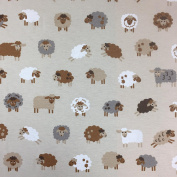 """Brown Novelty Sheep Cotton Rich Linen Look Fabric For Curtains Blinds Craft Quilting Patchwork & Upholstery 55"""" 140cm Wide – Sold by the Metre"""