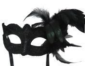 Mask & Co Ladies Quality Sparkling Black Feather Venetian Masquerade Party Ball Eye Mask
