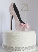 21st Pink and Black Birthday Cake Decoration Shoe with Satin Bow Embellishments and Diamante Number Non- Edible