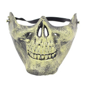 Moresave Skull Half Face Mask Skeleton Hunting Half Face Protect Gear Mask Cosplay Halloween Accessory