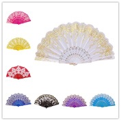 CosCosX 1 PCS Chinese/Spanish Folding Hand Fan, Dance Wedding Party Lace Silk Folding Hand Held Flower Fan, Wedding Favours Guests Gifts£¨White£©