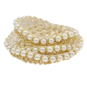 YNuth 1m Trim Ribbon Embroidered Articial Pearl Lace Sew On Romantic Trimmings Gold Colour