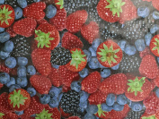 PRESTIGE FRUITS BERRIES STRAWBERRIES PVC OILCLOTH CLOTH KITCHEN DINING TABLE CLOTH FABRIC 140CM - CUT TO SIZE