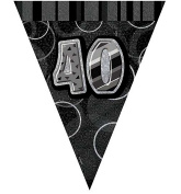 Happy 40th Birthday Flag Banner Bunting Decoration Party Pennant Holographic