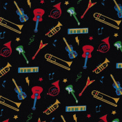 Black Themed Sound Of Music Design from Fabric Freedom – 100% Cotton British Designed Craft Fabric for Patchwork & Quilting, Lovely Coordinated Colours & Prints – (Price per /QUARTER Metre)