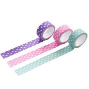 3xToruiwa Washi Tape Decorative Polka Dot Design Tape Adhesive Tape Masking Tape Sticky Paper for DIY Craft Scrapbooking Decoration Gift Wrapping Random Colour