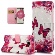 Galaxy S8 Case,Galaxy S8 Cover,ikasus 3D Art Painting Butterfly Flowers Pattern Premium PU Leather Fold Wallet Pouch Case Wallet Flip Cover Bookstyle Magnetic Closure with Card Slots & Stand Function Protective Case Cover for Samsung Galaxy S8,Flower B ..