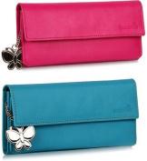 Butterflies Pink PU Leather Wallet Combo For Women