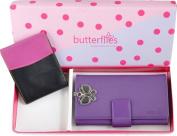 Butterflies Purple PU Leather Wallet Combo For Women