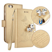 iPhone 6S Case, PU Leather Page Style Built-in Card Slot [5 Cards] Embossed Butterfly with [Transparent TPU Bumper] [3D Bling Butterfly Buckle] Cover Flip Wallet Case for Apple iPhone 6S / 6, Gold