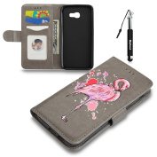 Galaxy A3 2017 Leather Case,Flip Wallet Case for Samsung Galaxy A3 2017,Huphant Flash Pink Flamingo Design Pattern Exquisite Painting Smooth Touch Wallet Flip Cover Premium PU Leather Anti Scratch Bumper Shell Magnetic Flip Holster Case Card Slots Cras ..