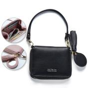 Women Cute Wallet, Bonice Elegant Tassel Zipper ID Credit Card Holder Organiser Small Coin Pouch Change Purse PU Leather Bags Girls Gifts + Mirror + Removable Srtap - Black