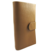 Wallet + chequebook holder leather 'Frandi' camel grained.