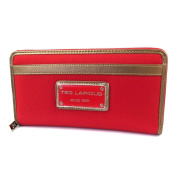 Wallet + chequebook holder zipped 'Ted Lapidus'red.