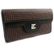 While a wallet + chequebook holder 'Ted Lapidus' orange brown.
