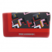 Zipped wallet + chequebook holder 'Ted Lapidus' red multicoloured.