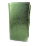 Leather chequebook holder 'Frandi' green metal.
