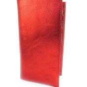 Leather chequebook holder 'Frandi' red metal.