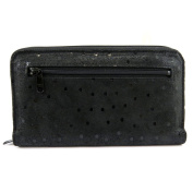 Wallet + chequebook holder leather zipped 'Frandi' black (peas).