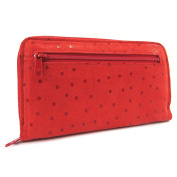 Wallet + chequebook holder leather zipped 'Frandi' red (peas).