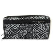 Wallet + chequebook holder zipped canvas 'Hedgren' black snake.