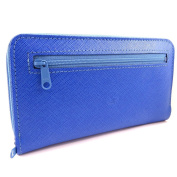 Wallet + chequebook holder leather zipped 'Frandi' royal blue.