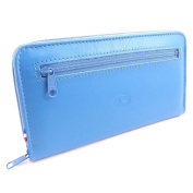 Wallet + chequebook holder leather zipped 'Frandi' blue.