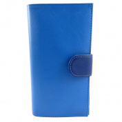 Leather chequebook holder 'Frandi' 2 blue tones.