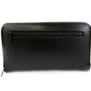 Wallet + chequebook holder leather zipped 'Frandi' black.