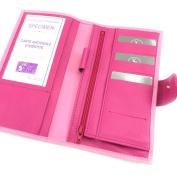 Leather chequebook holder 'Frandi' 2 pink tones.