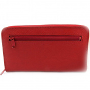 Wallet + chequebook holder leather zipped 'Frandi' red.