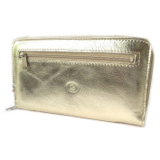 Wallet + chequebook holder leather zipped 'Frandi' golden plate.