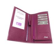 Leather chequebook holder 'Frandi' purple.