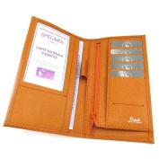 Leather chequebook holder 'Frandi' orange.