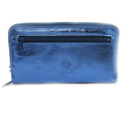 Wallet + chequebook holder leather zipped 'Frandi' electra blue.