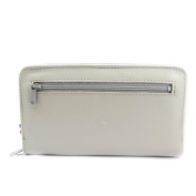 Wallet + chequebook holder leather zipped 'Frandi' light grey.