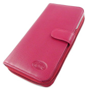 Zipped wallet + chequebook holder 'Venise'red.