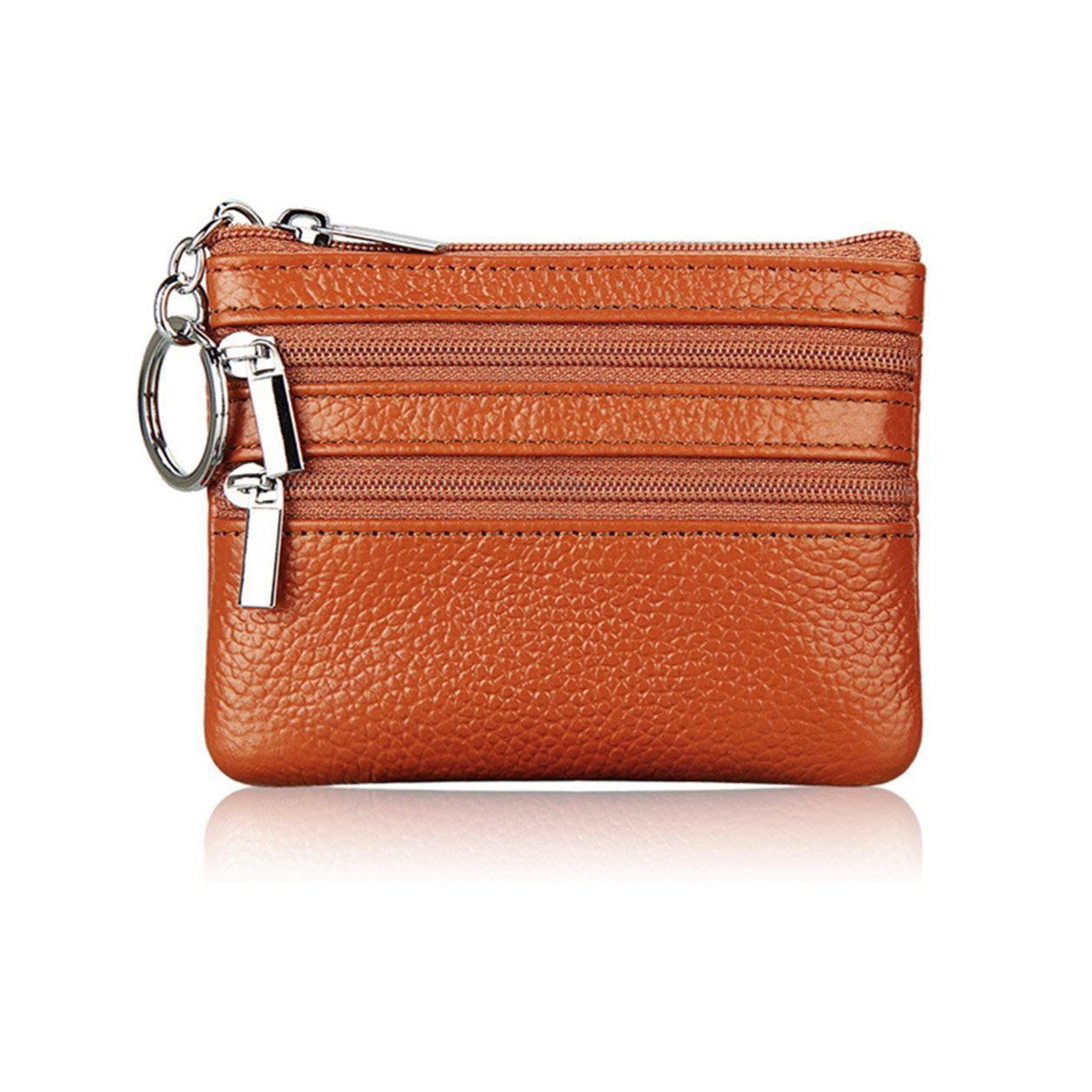 ceee99bc5338 Women's Genuine Leather Coin Purse Mini Pouch Change Wallet with Key Ring  (Brown)