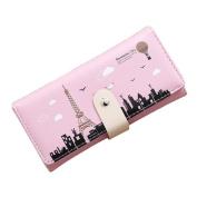 Tower Pattern Wallet Women Long Button Coin Purse Card Holder Clutch