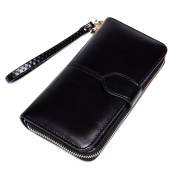 Miss Lulu Women Vintage Faux Leather Zip And Snap Button Folded Purse Wallet Long Purse Pouch Bag Black