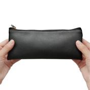 Dosige Fashion Black PU Leather Pencil Bags Makeup Pouches Coin Purse, 18.7 x 8.5 CM