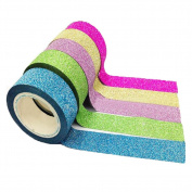 10xToruiwa Washi Tape Glitter Decorative Tape Adhesive Tape Masking Tape Sticky Paper for DIY Craft Scrapbooking Decoration Random Colour 1.5cm*3m