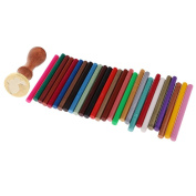 Sharplace Wooden Handle Sealing Wax Coin Stamp Seal Rabbit +10x Wax Sticks for Wedding Party Invitation