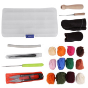 12/24 Colours Felting Wool Starter Kit, Fibre Wool Yarn Roving for Needle Felting Hand Spinning DIY Craft Materials