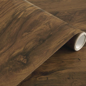Rustic Dark Wood Grain Contact Paper Self Adhesive Shelf Liner for Kitchen Cabinets Countertop Drawer Arts and Crafts 60cm x 500cm