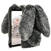 Black Soft Case for Samsung Galaxy S6,Diamond Crystal Furry Cover for Samsung Galaxy S6,Herzzer Luxury Cartoon Rabbit Ear Design Fluffy Hairy Silicone Rubber Protective Case